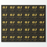 """[ Thumbnail: 87th Birthday – Art Deco Inspired Look """"87"""" & Name Wrapping Paper ]"""