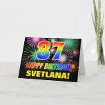 [ Thumbnail: 87th Birthday: Bold, Fun, Fireworks, Rainbow 87 Card ]