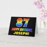 [ Thumbnail: 87th Birthday: Bold, Fun, Simple, Rainbow 87 Card ]