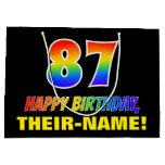 [ Thumbnail: 87th Birthday: Bold, Fun, Simple, Rainbow 87 Gift Bag ]