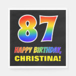 [ Thumbnail: 87th Birthday: Bold, Fun, Simple, Rainbow 87 Napkins ]