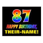[ Thumbnail: 87th Birthday: Bold, Fun, Simple, Rainbow 87 Postcard ]