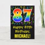 [ Thumbnail: 87th Birthday: Colorful Music Symbols + Rainbow 87 Card ]