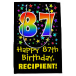 [ Thumbnail: 87th Birthday: Colorful Stars Pattern & Rainbow 87 Gift Bag ]