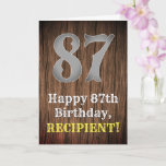 [ Thumbnail: 87th Birthday: Country Western Inspired Look, Name Card ]