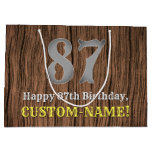 [ Thumbnail: 87th Birthday: Country Western Inspired Look, Name Gift Bag ]