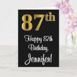 [ Thumbnail: 87th Birthday ~ Elegant Luxurious Faux Gold Look # Card ]