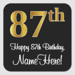 [ Thumbnail: 87th Birthday – Elegant Luxurious Faux Gold Look # Sticker ]