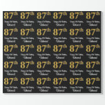 [ Thumbnail: 87th Birthday: Elegant Luxurious Faux Gold Look # Wrapping Paper ]