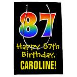 "[ Thumbnail: 87th Birthday: Fun, Bold, Colorful, Rainbow ""87"" Gift Bag ]"