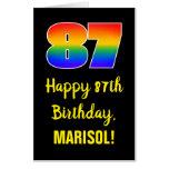 [ Thumbnail: 87th Birthday: Fun, Colorful, Happy, Rainbow # 87 Card ]