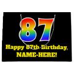 [ Thumbnail: 87th Birthday ~ Fun, Colorful, Vibrant, Rainbow 87 Gift Bag ]