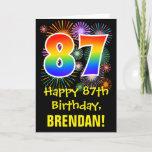 [ Thumbnail: 87th Birthday: Fun Fireworks Pattern + Rainbow 87 Card ]