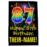 [ Thumbnail: 87th Birthday: Fun Fireworks Pattern + Rainbow 87 Gift Bag ]