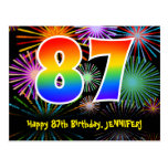 [ Thumbnail: 87th Birthday – Fun Fireworks Pattern + Rainbow 87 Postcard ]