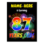"[ Thumbnail: 87th Birthday - Fun Fireworks, Rainbow Look ""87"" Postcard ]"
