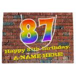 [ Thumbnail: 87th Birthday: Fun, Graffiti-Inspired Rainbow # 87 Gift Bag ]
