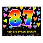[ Thumbnail: 87th Birthday: Fun Hearts Pattern, Rainbow 87 Postcard ]