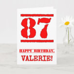 [ Thumbnail: 87th Birthday: Fun, Red Rubber Stamp Inspired Look Card ]