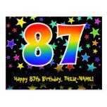 [ Thumbnail: 87th Birthday: Fun Stars Pattern, Rainbow 87, Name Postcard ]