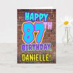 [ Thumbnail: 87th Birthday - Fun, Urban Graffiti Inspired Look Card ]