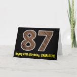 "[ Thumbnail: 87th Birthday: Name + Faux Wood Grain Pattern ""87"" Card ]"