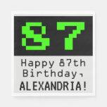 """[ Thumbnail: 87th Birthday - Nerdy / Geeky Style """"87"""" & Name Napkins ]"""