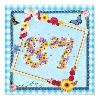 87th Birthday party Invitation flowers,butterflies