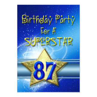 87th Birthday party Invitation for a Superstar.