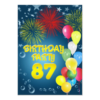 87th Birthday party Invitation with balloons