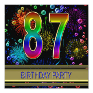 87th Birthday party Invitation with bubbles