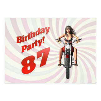 87th birthday party with a girl on a motorbike custom invites