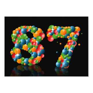 87th Birthday party, with bubbles and balls Custom Announcements