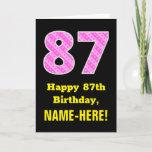 "[ Thumbnail: 87th Birthday: Pink Stripes and Hearts ""87"" + Name Card ]"