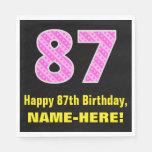 "[ Thumbnail: 87th Birthday: Pink Stripes and Hearts ""87"" + Name Napkins ]"