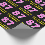 """[ Thumbnail: 87th Birthday: Pink Stripes and Hearts """"87"""" + Name Wrapping Paper ]"""
