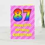 [ Thumbnail: 87th Birthday: Pink Stripes & Hearts, Rainbow # 87 Card ]