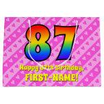 [ Thumbnail: 87th Birthday: Pink Stripes & Hearts, Rainbow # 87 Gift Bag ]