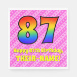 [ Thumbnail: 87th Birthday: Pink Stripes & Hearts, Rainbow # 87 Napkins ]