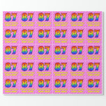 [ Thumbnail: 87th Birthday: Pink Stripes & Hearts, Rainbow # 87 Wrapping Paper ]