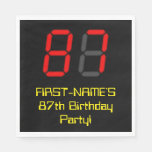 "[ Thumbnail: 87th Birthday: Red Digital Clock Style ""87"" + Name Napkins ]"