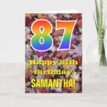 "[ Thumbnail: 87th Birthday; Rustic Autumn Leaves; Rainbow ""87"" Card ]"