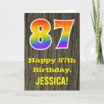 "[ Thumbnail: 87th Birthday: Rustic Faux Wood Look, Rainbow ""87"" Card ]"