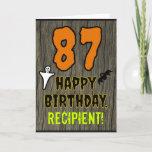 [ Thumbnail: 87th Birthday: Spooky Halloween Theme, Custom Name Card ]