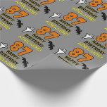 [ Thumbnail: 87th Birthday: Spooky Halloween Theme, Custom Name Wrapping Paper ]