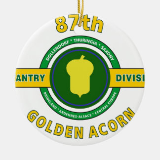 "87TH INFANTRY DIVISION ""GOLDEN ACORN"" Double-Sided CERAMIC ROUND CHRISTMAS ORNAMENT"