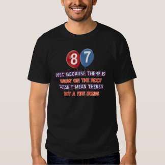87th year old snow on the roof birthday designs t-shirt