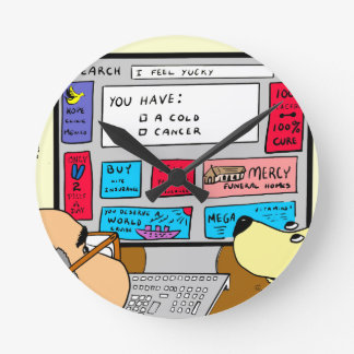 883 Search engine diagnosis cartoon Round Clock