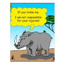 886 rhino tickle cartoon postcard