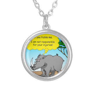 886 rhino tickle cartoon silver plated necklace